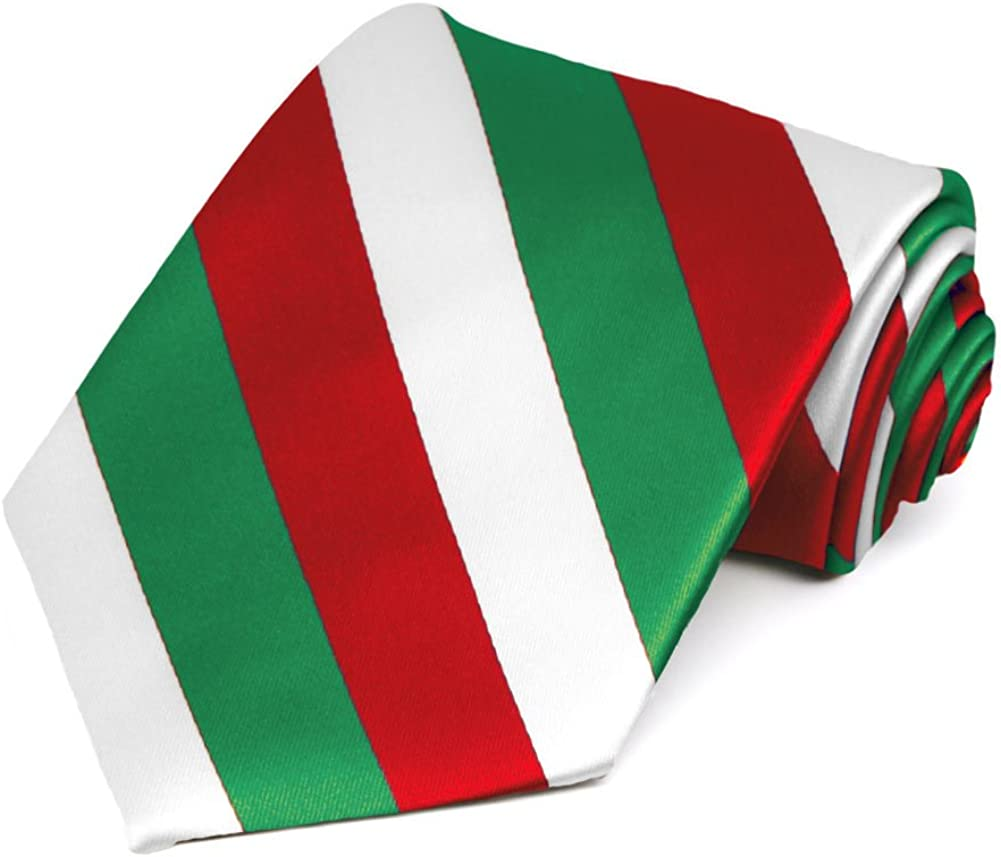 TieMart Kelly Green, White and Red Striped Tie