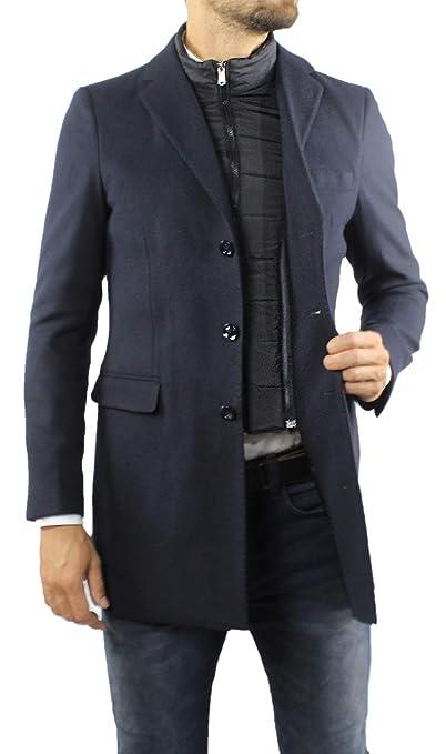 Ciabalù Cappotto Uomo Invernale Elegante Lungo Nero Grigio con Gilet Interno Rimovibile Cappottino Caldo Doppio Petto con Panciotto
