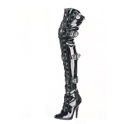 9ae995b51307 Higher-Heels PleaserUSA Overknee-Stiefel Seduce-3028 Lack schwarz Gr.36