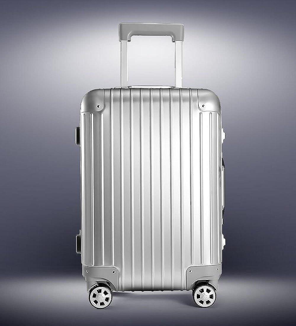 S-cas-033 20/26インチ スーツケース 機内持ち込み可能 旅行バッグ トランク アルミ製 キャリーケース 20インチ シルバー B078HKHB5V