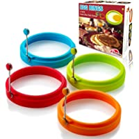 New Egg Ring, Silicone Egg Rings Non Stick, Egg Cooking Rings, Perfect Fried Egg Mold or Pancake Rings(4pcs) (Multicolor)