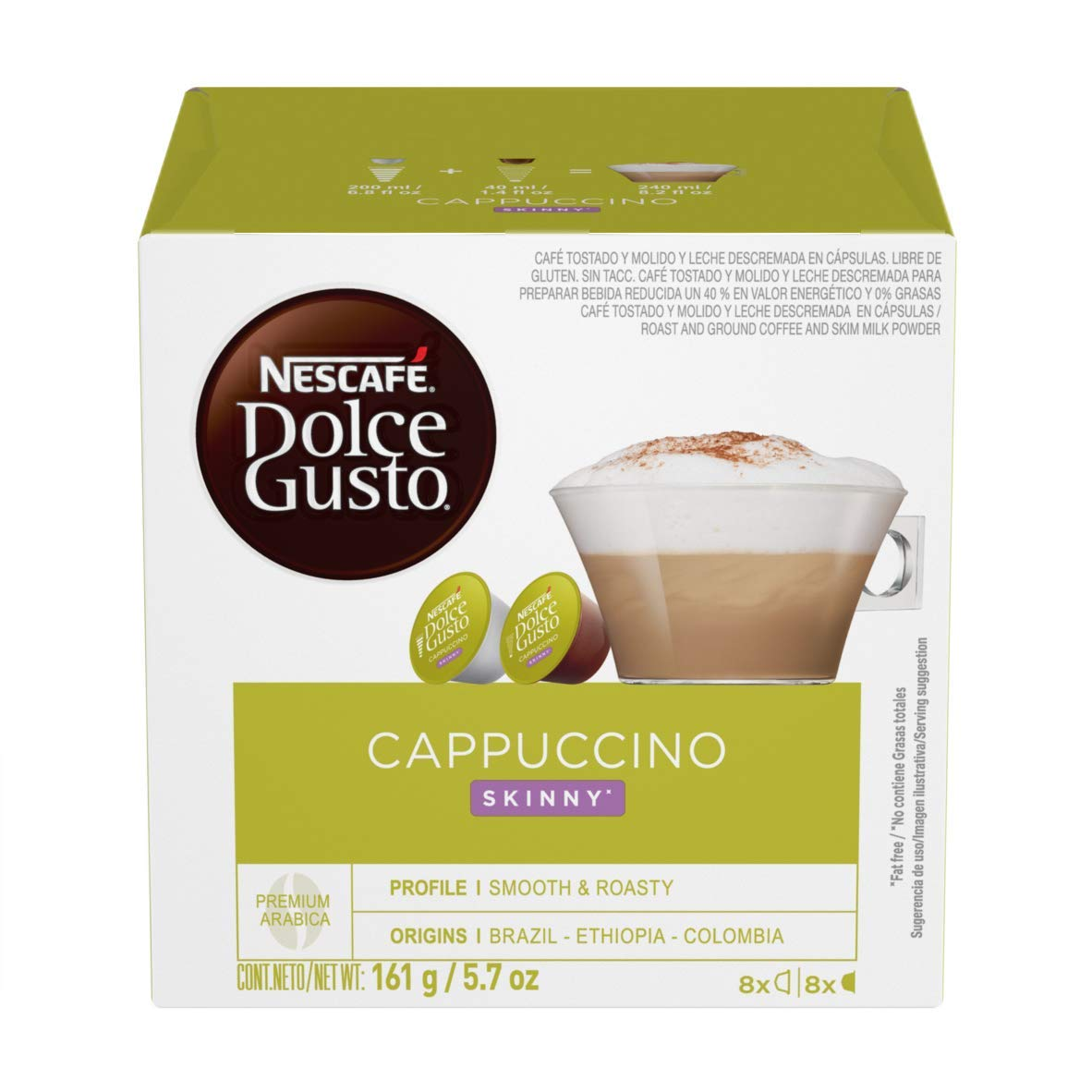 Nescafe Dolce Gusto Pods, Skinny Cappuccino, 16 capsules, Pack of 3