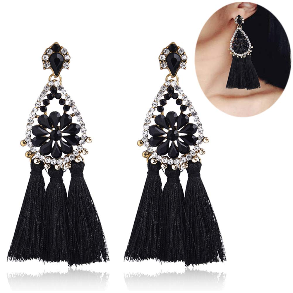 Tassel Dangle Drop Stud Earrings - YIFEI 2018 New Design Rhinestone Bohemian Chandelier Teardrop Statement Handmade Dangling Fringe Earrings For Womens by YIFEI (Image #1)