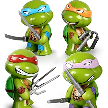 4 Pieces/Set Teen-Age Mu-tant Ninja Figurine Cartoon Turtle Figurines Childrens Room Decorating Toys for...
