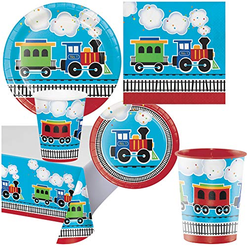 All Aboard Train Theme Childrens Birthday Party Supplies Pack Set for 16 Guests Boys Girls - (1) Keepsake Plastic 16 oz. Cup - Paper Plates, Napkins, Paper Cups, Table Cover - Disposable for Food Cake