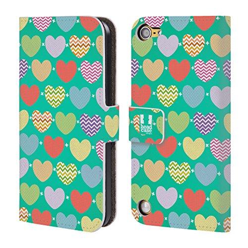 Head Case Designs Random Pattern A Cuore Cover a portafoglio in pelle per iPod Touch 5th Gen / 6th Gen
