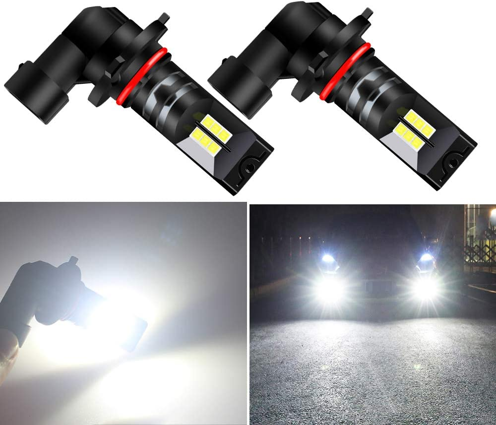 Teguangmei 2Pcs H8 H9 H11 LED Fog Light Bulbs 12SMD 2525 Xenon White 6000K for Car Fog Light Driving DRL Lights 12V