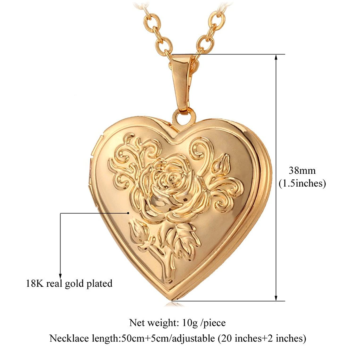 amazon women photo necklace gold locket shaped heart plated jewelry dp com lockets pendant fashion