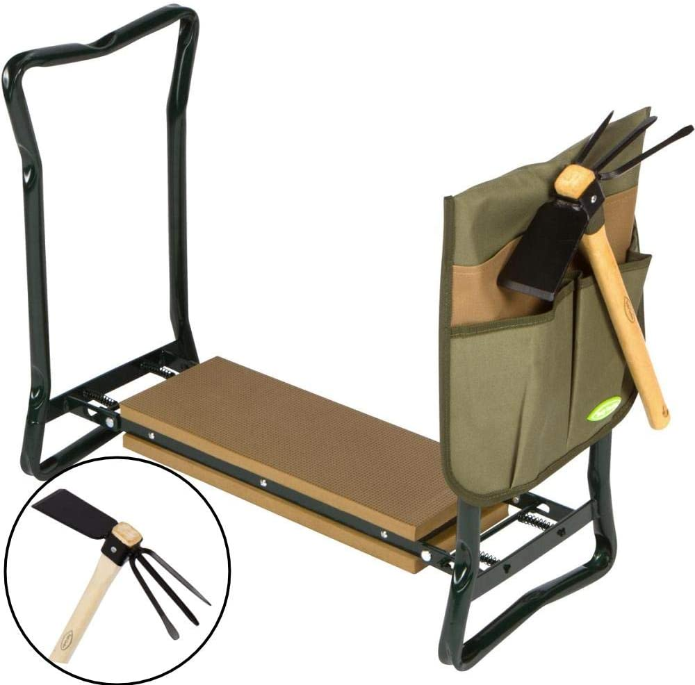 Truly Garden Kneeler and Seat with Cultivator Hoe. This Portable, Foldable Garden Bench Includes a Classic Garden Tool and Handy Tool Pouch Making it a Great Gift for Any Gardener.