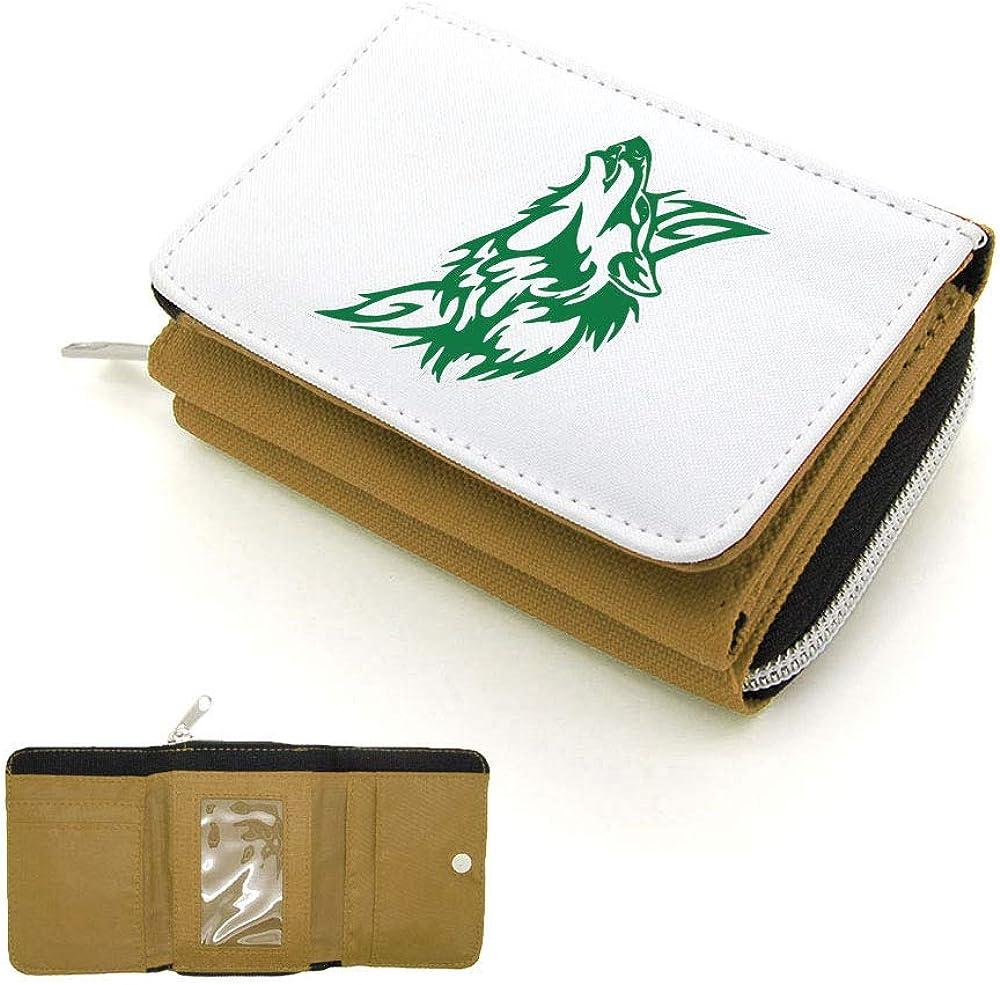 Mygoodprice Portefeuille /à rabat porte-monnaie loup contour vert