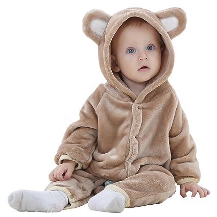 GXYCP Traje De Arrastre para Bebé Lindo Oso Pijamas Franela Traje De Una Sola Pieza Ropa