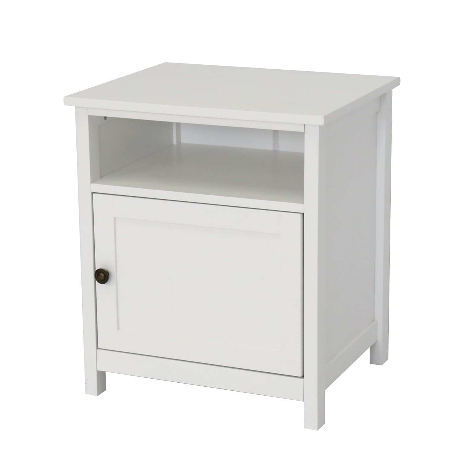 Peach Tree Single Door Floor Big Storage Space Bedroom Night Stand Table Cabinet(White)