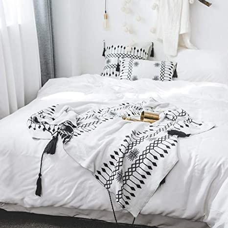 Cross Cable Knit Woven Home Throw Blanket 100/% Cotton Soft Warm Bedding Travel