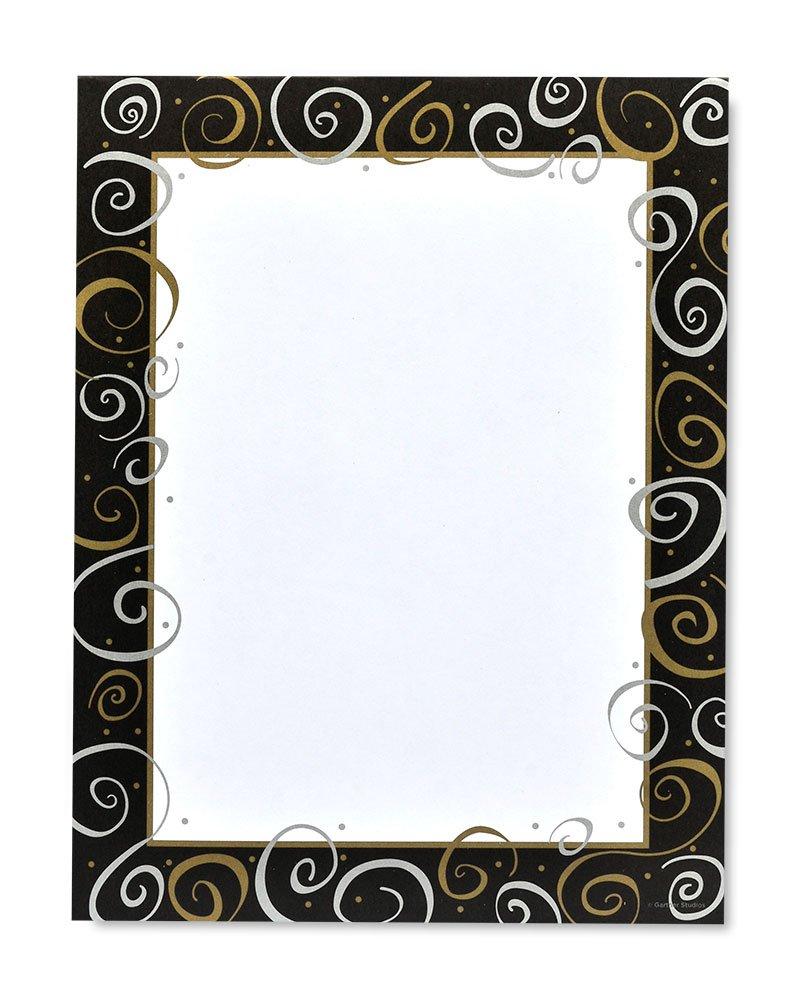 Silver & Gold on Black Designer Stationery