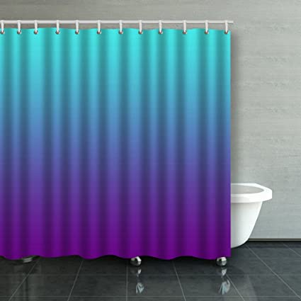 Family Unique Decorative Custom Xmas Shower Curtains Simple Background Gradient Turquoise Blue Purple Waterproof Polyester Fabric