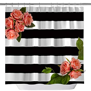 Black and White Stripe Shower Curtain Bathroom Decor Polyester /& 12hooks 71*71in