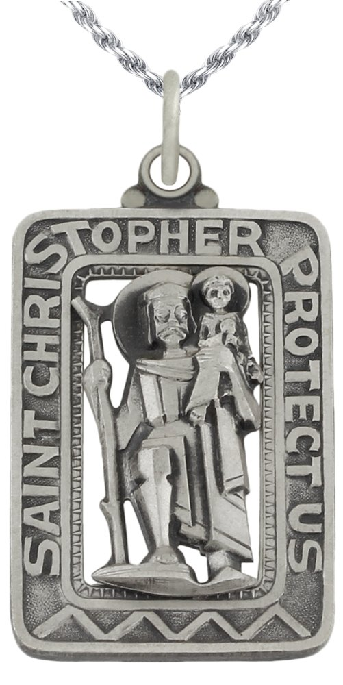 1 3/8in Rectangle 0.925 Sterling Silver St Saint Christopher Medal Pendant 3.0mm Curb Necklace, 20''