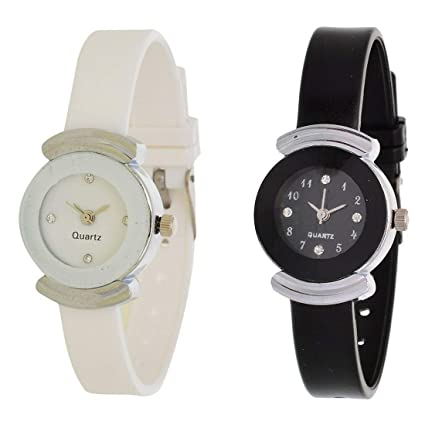 Exotica Analogue Black & White Dial Combo of 2 Women's & Girl's Watch (EX-G151-G152)