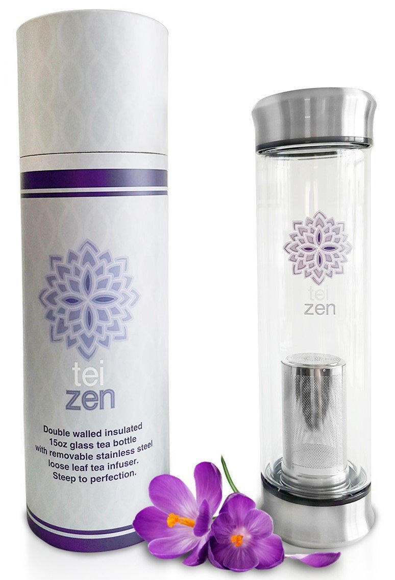 Tea Infuser Bottle- Improved Leak-Proof Seal! Glass Tea Tumbler with Loose Leaf Stainless Steel Strainer Basket by Teizen - Portable for Travel, 14 Ounce, for Hot or Iced Tea