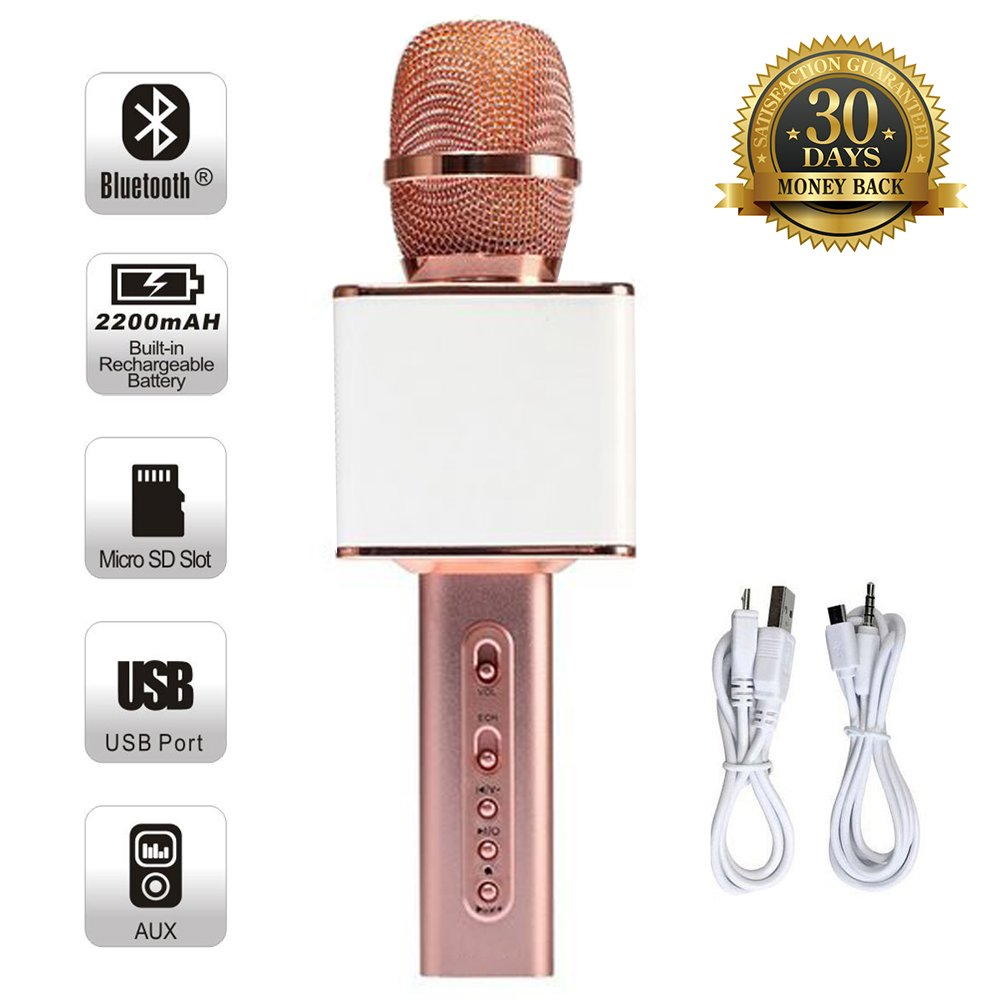 Magic Karaoke Wireless Microphone Bluetooth Speaker Player For Apple iPhone Android Smartphone PC Music Playing Singing Home KTV (YS10 White-Pink)