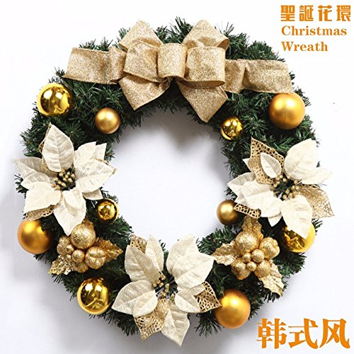 Christmas Garland for Stairs fireplaces Christmas Garland Decoration Xmas Festive Wreath Garland with Christmas wreath yellow butterfly knot wreath Christmas door rattan ring,60CM