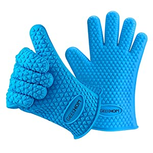 GEEKHOM Silicone Cooking Gloves, Waterproof Non-Slip Kitchen Oven Mitts, Heat Resistant Flexible Barbecue Gloves for BBQ Grilling Baking Outdoor and Indoor (Blue)