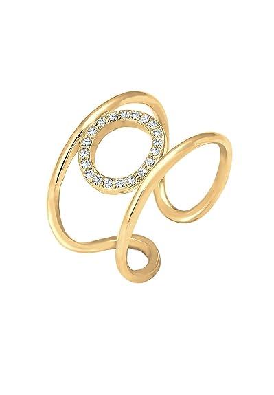 Elli Women Gold Plated 925 Sterling Silver Pearl Crystal Adjustable Ring DtRYBsrOem
