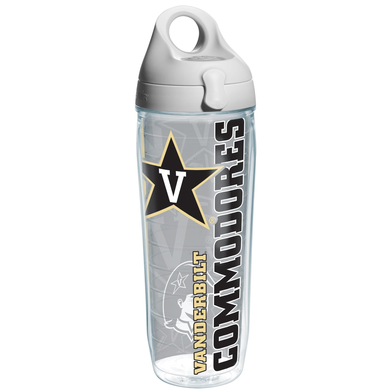 Tervis Vanderbilt College Pride Water Bottle with Grey Lid, 24 oz, Clear