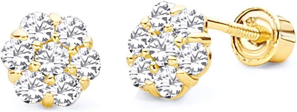 July Wellingsale 14K Yellow Gold Polished Flower Birth CZ Cubic Zirconia Stone Stud Earrings With Screw Back