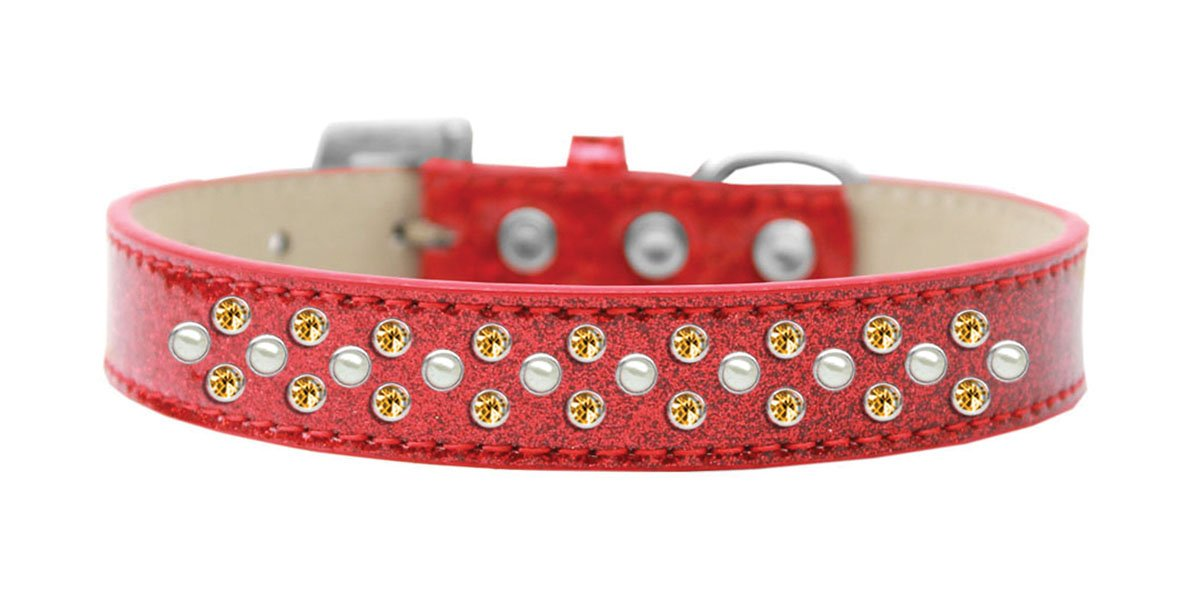Red Size 18 Red Size 18 Mirage Pet Products Sprinkles Ice Cream Dog Collar with Pearl and Yellow Crystals, Size 18, Red