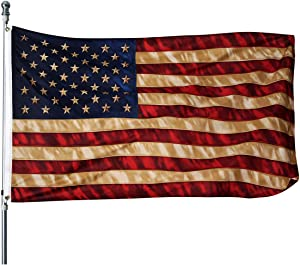 Homissor Tea Stained American Flag - 3x5 Outdoor Vintage Rustic Old Style United States Flags Banner Indoors for wall 4th of july (Tea Printed Star Flag)