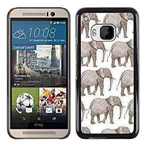 Planetar® ( Elephant White African Indian White ) HTC One M9 Fundas Cover Cubre Hard Case Cover
