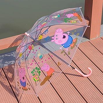 Peppa Pig – Paraguas de los niños escuela primaria estudiantes transparente paraguas rosa Pig
