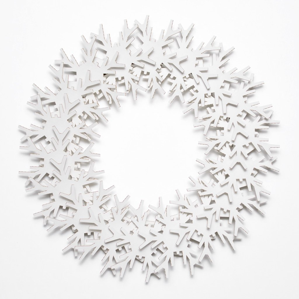 Cardboard Safari Recyled Cardboard 21 Inch DIY Decorative Holiday Wreath (Snowflakes White)