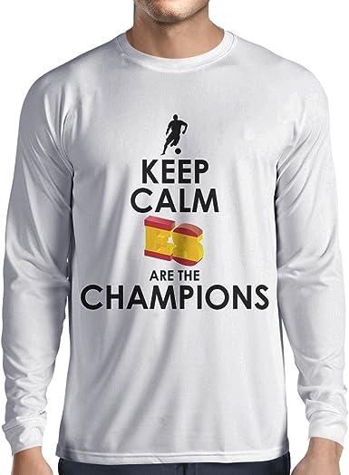 Camiseta de Manga Larga para Hombre Españoles Son los campeones, Campeonato de Rusia 2018, Copa del Mundo - Equipo del fútbol de Camisa del admirador de España: Amazon.es: Ropa y accesorios