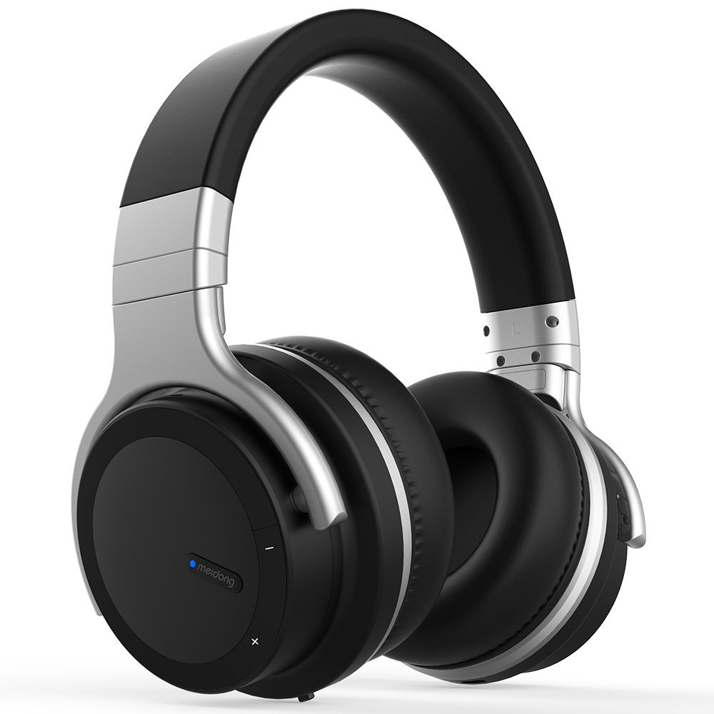 Active Noise Cancelling Bluetooth Headphones [2018 Updated] Meidong E7 PRO Wireless Headphones Over Ear 30H Playtime Hi-Fi Stereo Headsets with Microphone and Carring Case for Travel Work PC TV