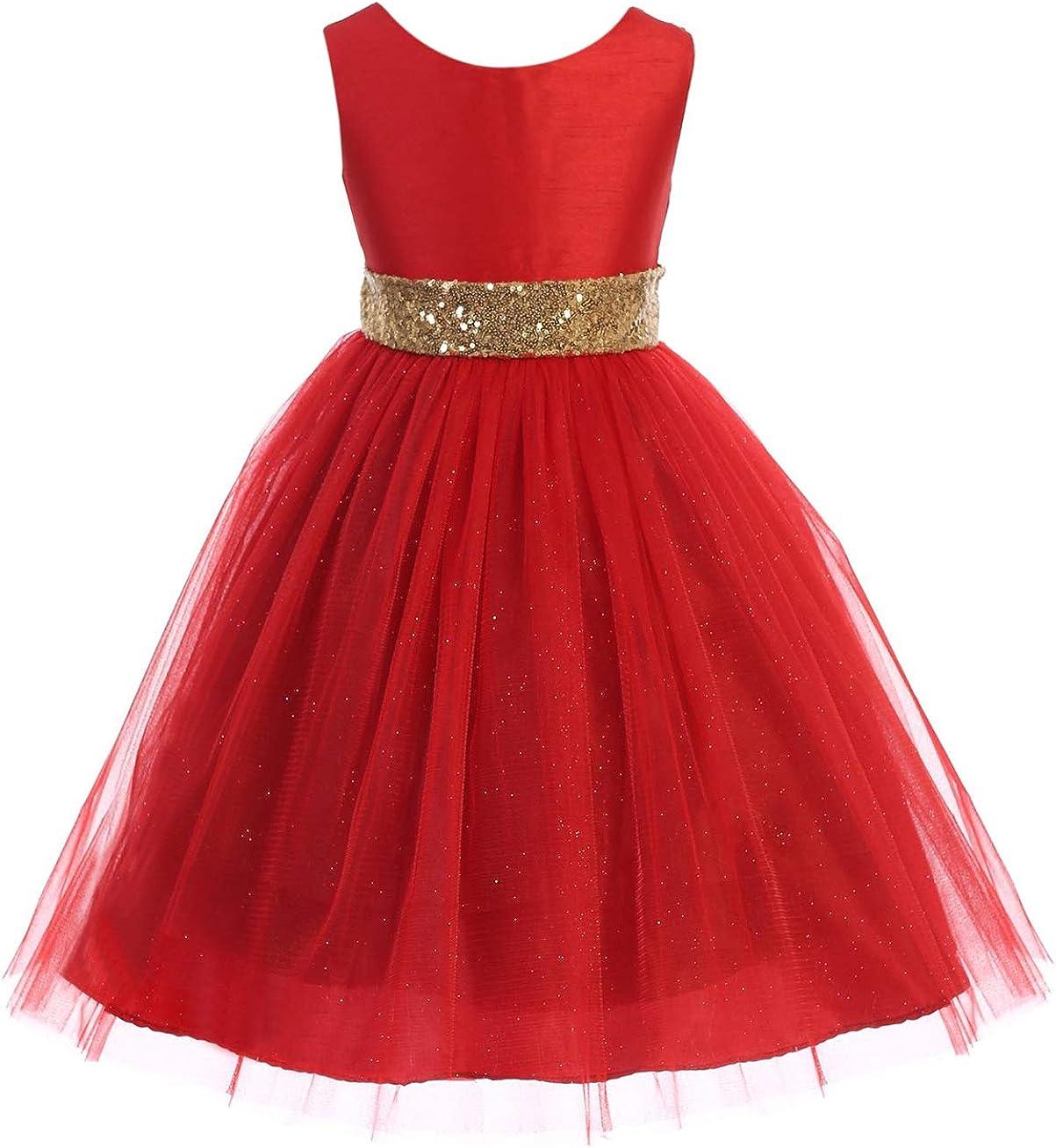 Little Girls Sleeveless Tulle Holiday Christmas Thanksgiving Flower Girl Dress