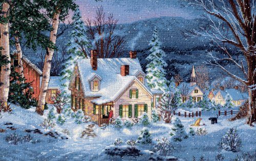 Brand New Gold Collection Winter's Hush Counted Cross Stitch