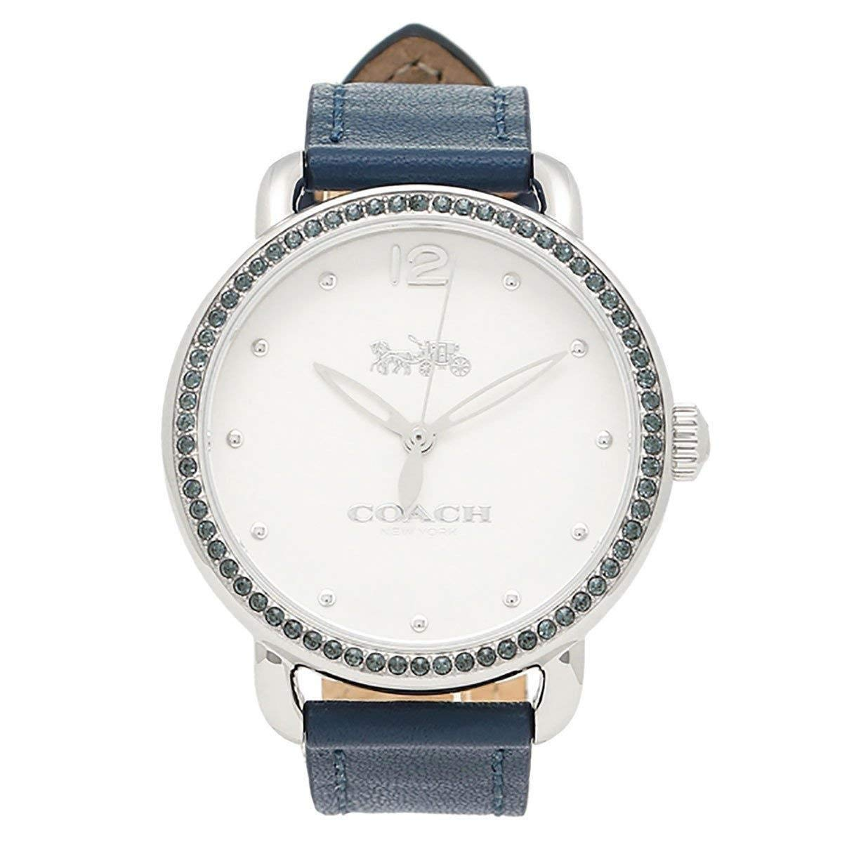 e4409ad63b94 Amazon.com  Coach Women s Delancey Blue Leather Band Steel Case Quartz  White Dial Analog Watch 14502885  Watches