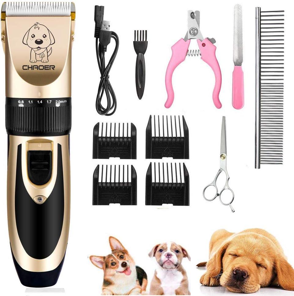 Eyeleaf Cortapelo para Perro - Recargable Profesional Cortapelos para Mascotas Perros Gatos, Bajo Ruido y Vibración, Set Máquina Cortar Pelo Perros Inalámbrico con Cable USB, Tijeras y 4 Guías Peine