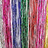 Ifavor123 Decorative Tinsel Foil Metallic Fringe Party Door Window Curtains – 3 Feet Wide X 8 Feet Long (3 Pack, Rainbow)