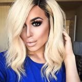 Ten Chopstics Sexy 1BT613 Blonde Human Hair Wigs for Black Women Short Glueless Full Lace Ombre Lace Front Wig Bob Wig Wavy Two Tone Brazilian Hair Wig Bleached Knots 100%Virgin Hair Natural Baby Hair