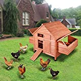 Yescom 59'' Wooden Chicken Coop Hen House Fir Wood with 2 Nesting Box Poultry Pet Small Animal Cage Hutch Backyard