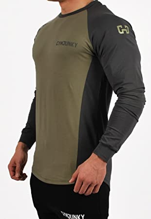 Gymjunky Dual Fitted T-shirt  agrave  manches longues Pour fitness sport  musculation, Military 153d5ea7b5eb