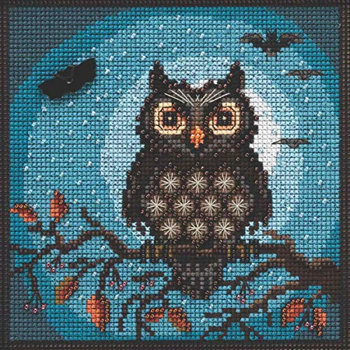 Midnight Owl Beaded Counted Cross Stitch Kit Mill Hill 2019 Buttons & Beads Autumn MH141922
