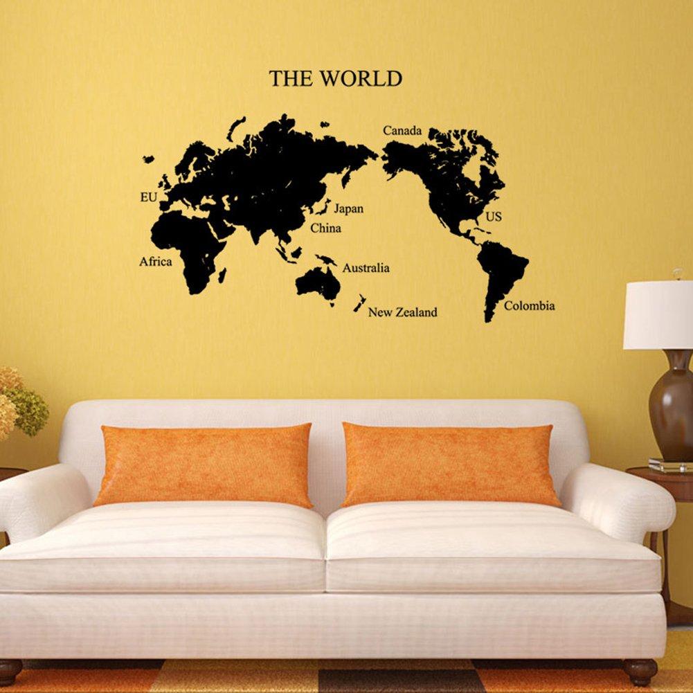ChezMax Removable Home Decor PVC DIY Decorative World Map Self ...