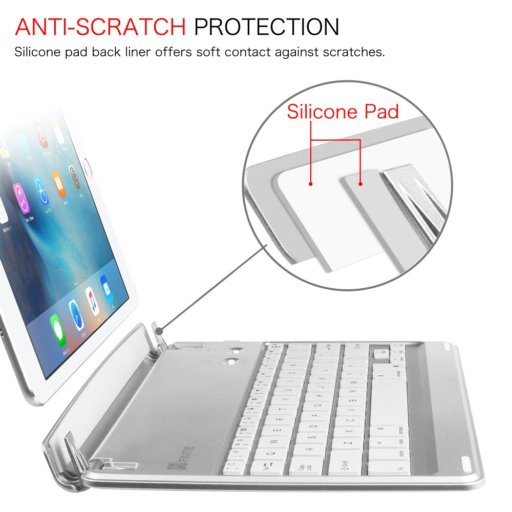 Fintie iPad Pro 9.7 / iPad Air 2 Keyboard Cover - [Multi-Angle] 7 Colors Backlit Slim Wireless Bluetooth Keyboard (with Auto Wake / Sleep) for Apple iPad Air 2 / iPad Pro 9.7 (Silver) by Fintie (Image #6)