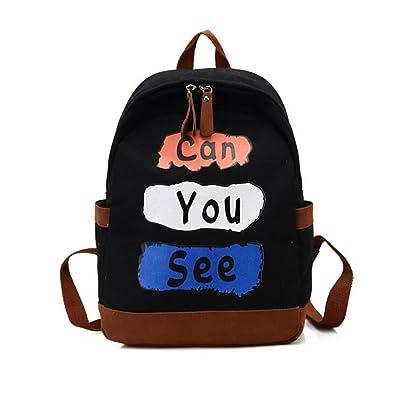 Fashion Women Backpack Cute Canvas Letters Shoulder Bag Funny Soft Girls Satchel Black School Bag For
