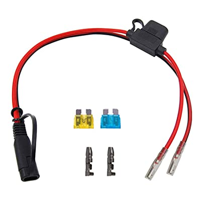 CUZEC 1FT/0.3m 16AWG SAE Power Adapter Bullet Crimp Terminals to SAE Harness Quick Connect/Disconnect Assembly, 15A Fuse: Automotive [5Bkhe1010193]