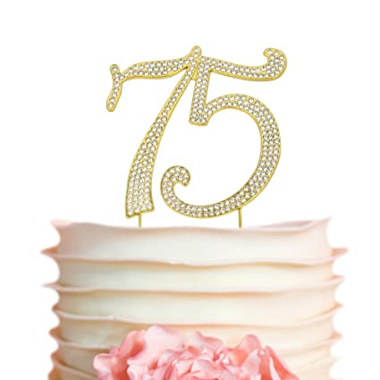 Amazon 75 Gold Cake Topper Premium Sparkly Crystal
